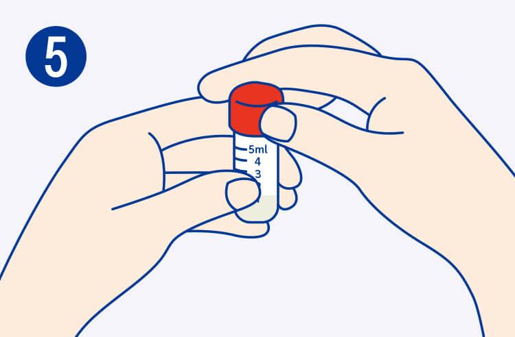 チューブに赤色のキャップを取り付け、しっかり閉める。